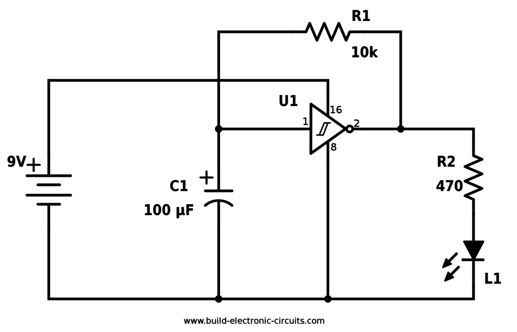 Schematic Of Pulsing Led Circuit