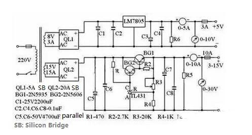 Regulated Voltage Adjustable Power Supply Circuit Diagram