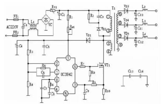 UC3842 Internal Schematic Diagram