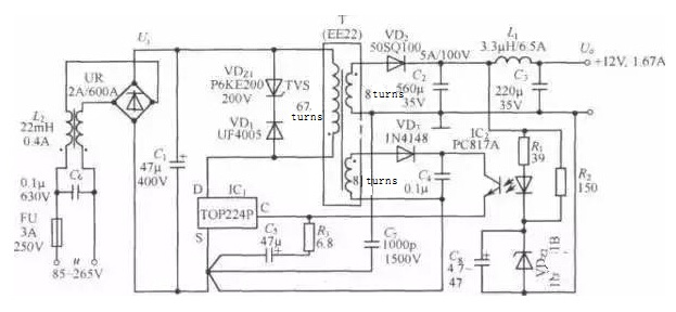 TOP224P 12V | 20W Switching DC Power Supply Circuit