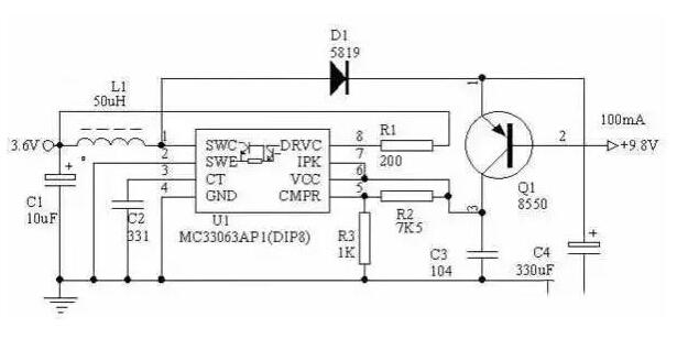 MC34063 3.6V→9V Circuit